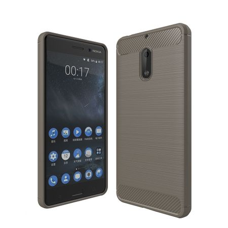 Nokia 6 TPU Case Carbon Fiber Optik Brushed Schutz Hülle Grau