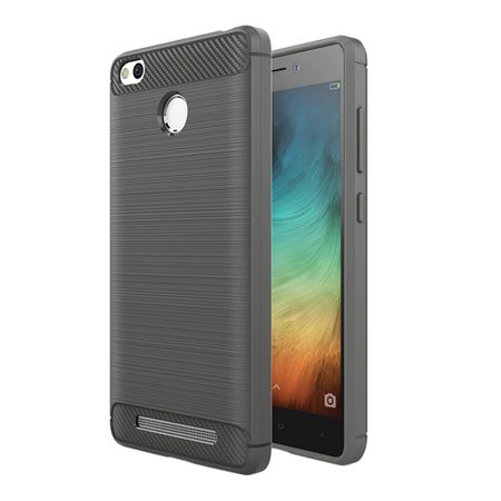 Xiaomi Redmi 3s TPU Case Carbon Fiber Optik Brushed Schutz Hülle Grau