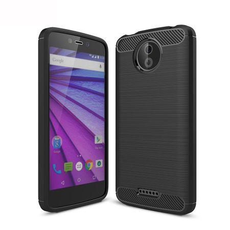 Motorola Moto C TPU Case Carbon Fiber Optik Brushed Schutz Hülle Schwarz