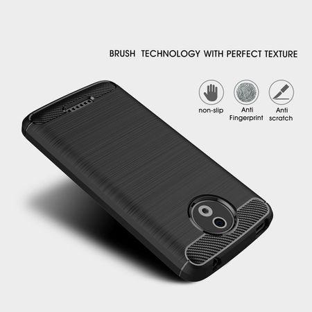 Motorola Moto C TPU Case Carbon Fiber Optik Brushed Schutz Hülle Blau – Bild 4