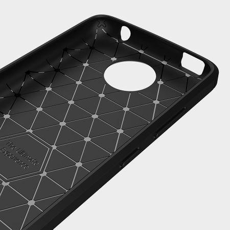 Motorola Moto C TPU Case Carbon Fiber Optik Brushed Schutz Hülle Blau – Bild 5