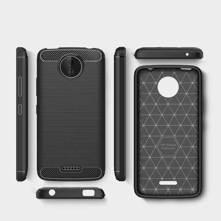 Motorola Moto C TPU Case Carbon Fiber Optik Brushed Schutz Hülle Blau – Bild 6