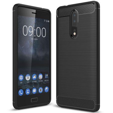 Nokia 8 TPU Case Carbon Fiber Optik Brushed Schutz Hülle Schwarz – Bild 1