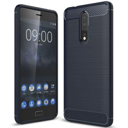 Nokia 8 TPU Case Carbon Fiber Optik Brushed Schutz Hülle Blau – Bild 1