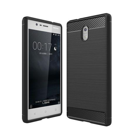Nokia 3 TPU Case Carbon Fiber Optik Brushed Schutz Hülle Schwarz