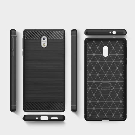 Nokia 3 TPU Case Carbon Fiber Optik Brushed Schutz Hülle Blau – Bild 6