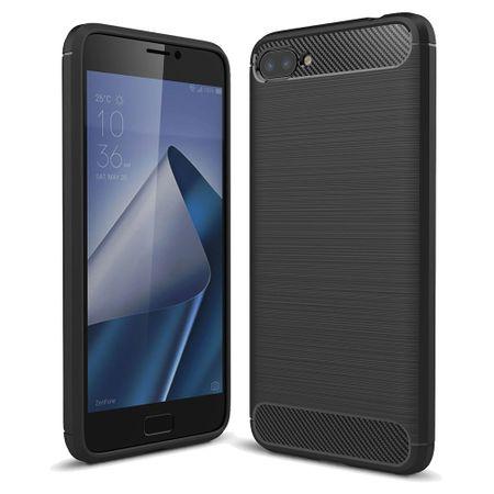 Asus Zenfone 4 Max ZC554KL TPU Case Carbon Fiber Optik Brushed Schutz Hülle Schwarz
