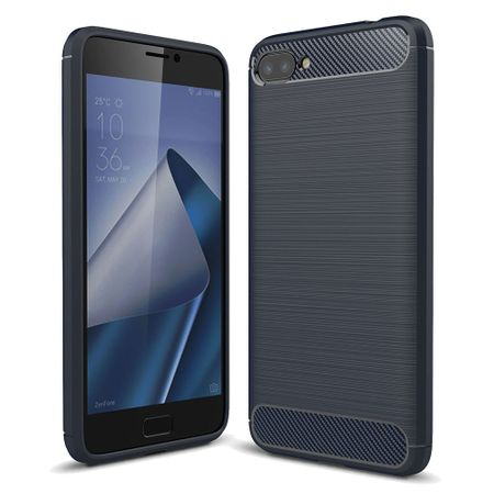 Asus Zenfone 4 Max ZC554KL TPU Case Carbon Fiber Optik Brushed Schutz Hülle Blau