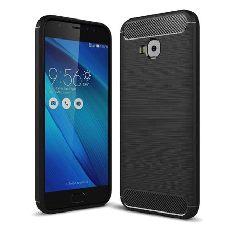 Asus Zenfone 4 Selfie ZD553KL TPU Case Carbon Fiber Optik Brushed Schutz Hülle Schwarz – Bild 2