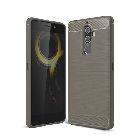 Lenovo K8 Note TPU Case Carbon Fiber Optik Brushed Schutz Hülle Grau