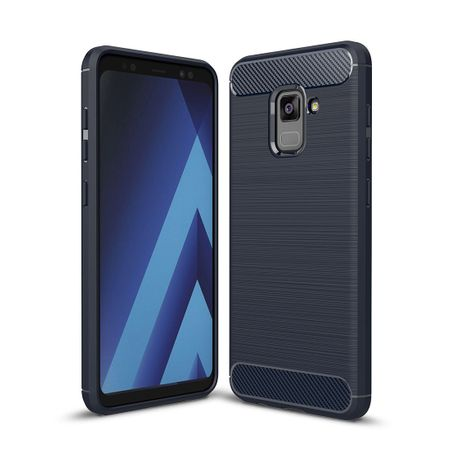 Samsung Galaxy A8 2018 TPU Case Carbon Fiber Optik Brushed Schutz Hülle Blau