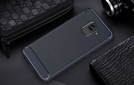Samsung Galaxy A8 2018 TPU Case Carbon Fiber Optik Brushed Schutz Hülle Blau – Bild 3