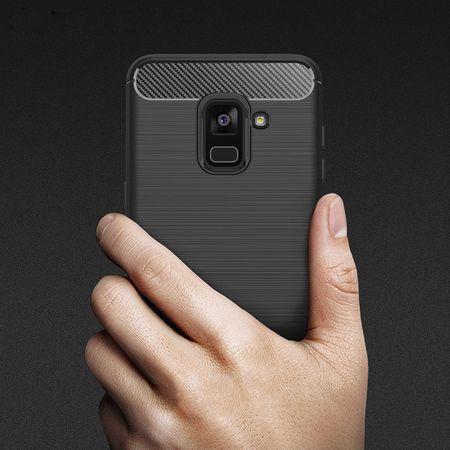 Samsung Galaxy A8 2018 TPU Case Carbon Fiber Optik Brushed Schutz Hülle Blau – Bild 10