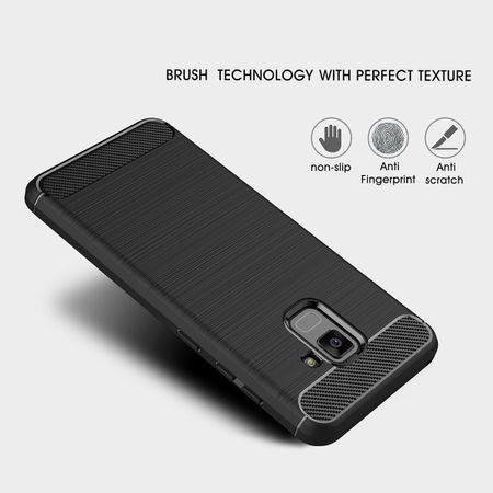 Samsung Galaxy A8 2018 TPU Case Carbon Fiber Optik Brushed Schutz Hülle Grau – Bild 6