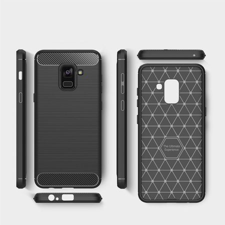Samsung Galaxy A8 2018 TPU Case Carbon Fiber Optik Brushed Schutz Hülle Grau – Bild 8