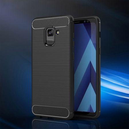 Samsung Galaxy A8 Plus 2018 TPU Case Carbon Fiber Optik Brushed Schutz Hülle Blau – Bild 2