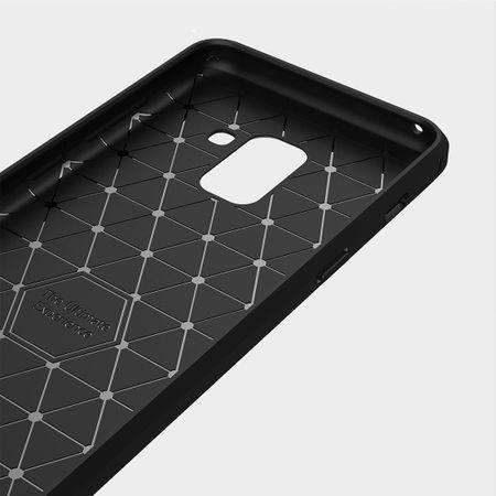 Samsung Galaxy A8 Plus 2018 TPU Case Carbon Fiber Optik Brushed Schutz Hülle Blau – Bild 5