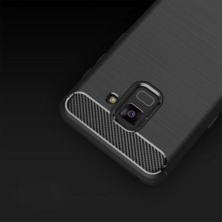 Samsung Galaxy A8 Plus 2018 TPU Case Carbon Fiber Optik Brushed Schutz Hülle Blau – Bild 6
