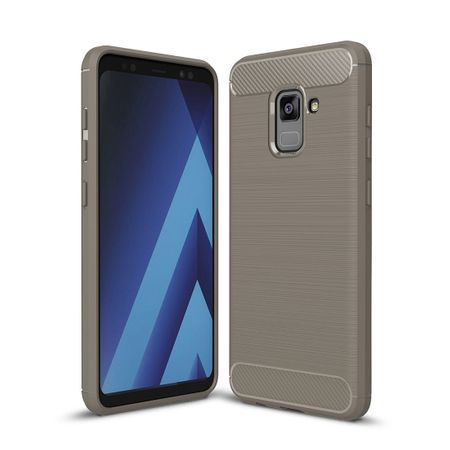 Samsung Galaxy A8 Plus 2018 TPU Case Carbon Fiber Optik Brushed Schutz Hülle Grau