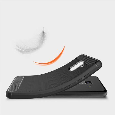 Samsung Galaxy A8 Plus 2018 TPU Case Carbon Fiber Optik Brushed Schutz Hülle Grau – Bild 4