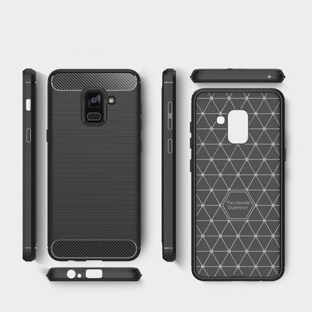Samsung Galaxy A8 Plus 2018 TPU Case Carbon Fiber Optik Brushed Schutz Hülle Grau – Bild 8
