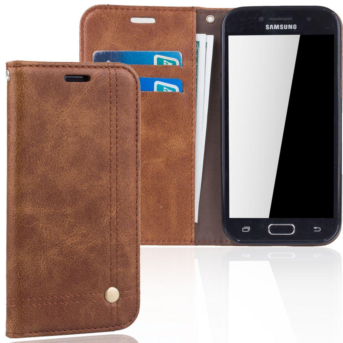 Handy Hülle Schutz Tasche für Samsung Galaxy A5 2017 Cover Wallet Etui Braun