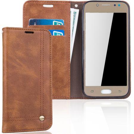 Handy Hülle Schutz Tasche für Samsung Galaxy J5 2017 Cover Wallet Etui Braun
