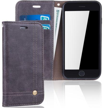 Handy Hülle Schutz Tasche für Apple iPhone 6 Cover Wallet Etui Grau