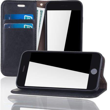 Handy Hülle Schutz Tasche für Apple iPhone 7 Cover Wallet Etui Schwarz – Bild 2