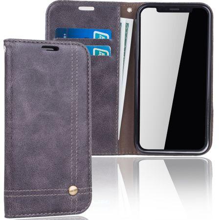 Handy Hülle Schutz Tasche für Apple iPhone X Cover Wallet Etui Grau