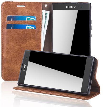 Handy Hülle Schutz Tasche für Sony Xperia XA2 Cover Wallet Etui Braun – Bild 2