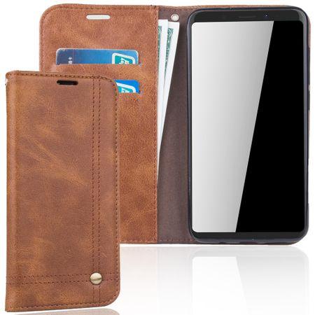 Handy Hülle Schutz Tasche für Wiko View XL Cover Wallet Etui Braun