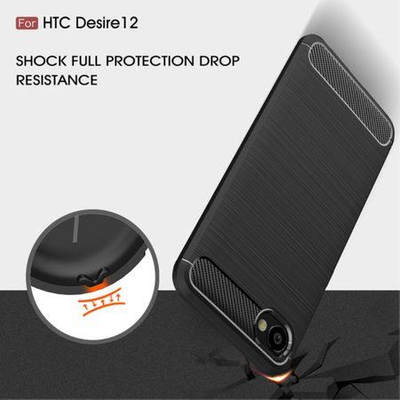 HTC Desire 12 Hülle Silikon Blau Carbon Optik Case TPU Handyhülle Bumper 211755 – Bild 7