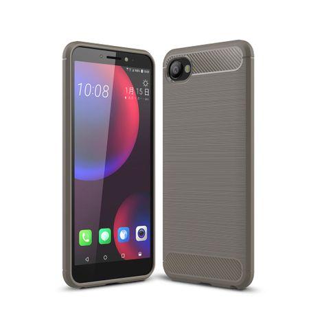 HTC Desire 12 Hülle Silikon Grau Carbon Optik Case TPU Handyhülle Bumper 211756