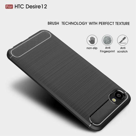 HTC Desire 12 Hülle Silikon Grau Carbon Optik Case TPU Handyhülle Bumper 211756 – Bild 4