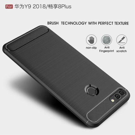 Huawei Y9 2018 Hülle Silikon Blau Carbon Optik Case TPU Handyhülle Bumper 211758 – Bild 4