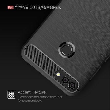 Huawei Y9 2018 Hülle Silikon Blau Carbon Optik Case TPU Handyhülle Bumper 211758 – Bild 7