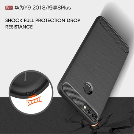 Huawei Y9 2018 Hülle Silikon Grau Carbon Optik Case TPU Handyhülle Bumper 211759 – Bild 7