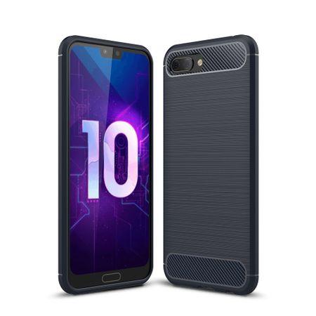 Huawei Honor 10 Lite Hülle Silikon Blau Carbon Optik Case TPU Handyhülle Bumper 211767