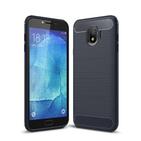 Samsung Galaxy J4 Hülle Silikon Blau Carbon Optik Case TPU Handyhülle Bumper 211779