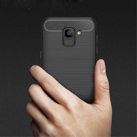Samsung Galaxy J6 Hülle Silikon Schwarz Carbon Optik Case TPU Handyhülle Bumper 211781 – Bild 8
