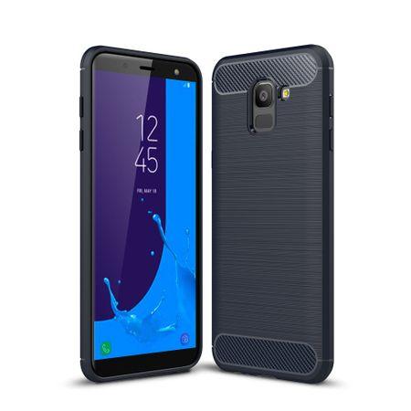 Samsung Galaxy J6 Hülle Silikon Blau Carbon Optik Case TPU Handyhülle Bumper 211782