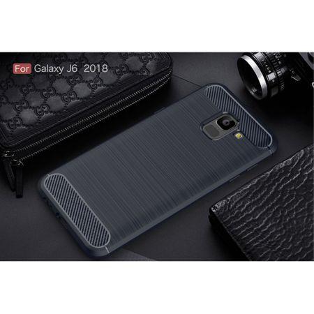 Samsung Galaxy J6 Hülle Silikon Blau Carbon Optik Case TPU Handyhülle Bumper 211782 – Bild 2