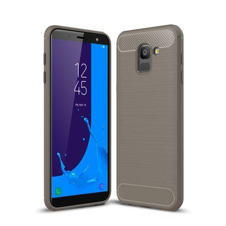 Samsung Galaxy J6 Hülle Silikon Grau Carbon Optik Case TPU Handyhülle Bumper 211783