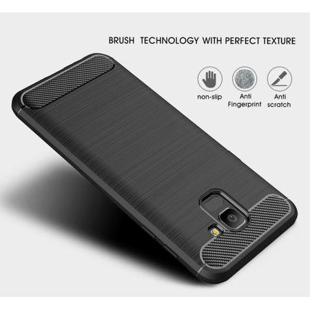 Samsung Galaxy J6 Hülle Silikon Grau Carbon Optik Case TPU Handyhülle Bumper 211783 – Bild 4