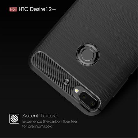 HTC Desire 12 Plus Hülle Silikon Blau Carbon Optik Case TPU Handyhülle Bumper 211791 – Bild 4