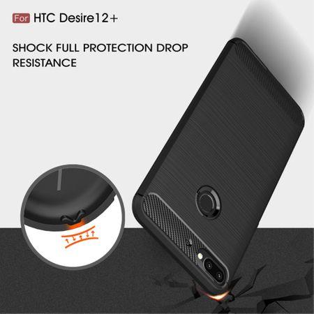 HTC Desire 12 Plus Hülle Silikon Grau Carbon Optik Case TPU Handyhülle Bumper 211792 – Bild 7