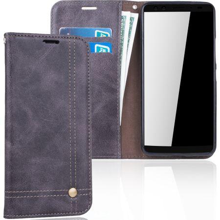 Handy Hülle Schutz Tasche für HTC U12 Cover Wallet Etui Grau