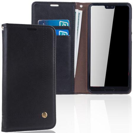Handy Hülle Schutz Tasche für Huawei P20 Pro Cover Wallet Etui Schwarz