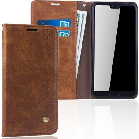 Handy Hülle Schutz Tasche für Huawei P20 Pro Cover Wallet Etui Braun